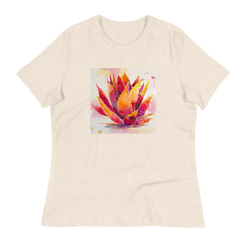 Women's Relaxed T-Shirt, Orange Agave, by Roberta Rogers