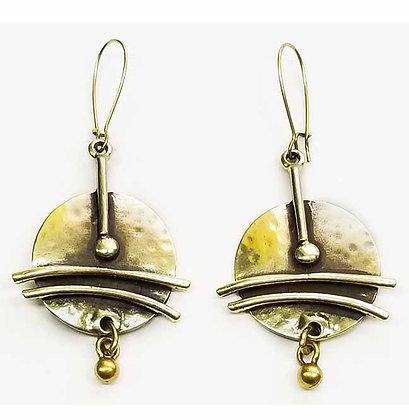 Brass Setting Sun Earrings