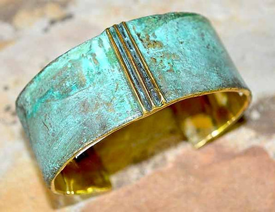 Lost Wax Cast Patina Brass Terrain Series Triple Ridge Cuff Bracelet