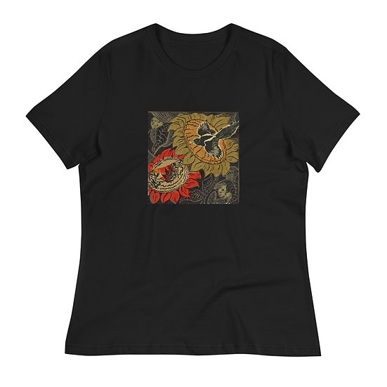 Women's Relaxed T-Shirt, Sunflowers, by Ouida Touchon