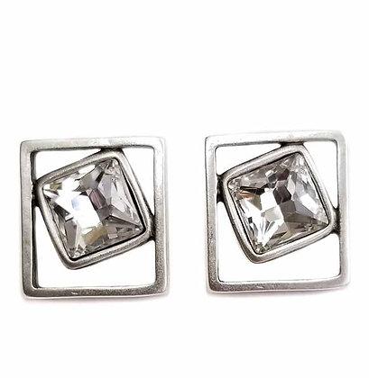 Pewter Clear Quarts Drop Earrings