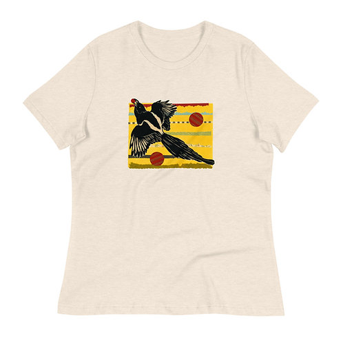 Women's Relaxed T-Shirt, Raven 2, by Ouida Touchon