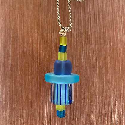 Sea Glass and Blue Candy Cane Glass