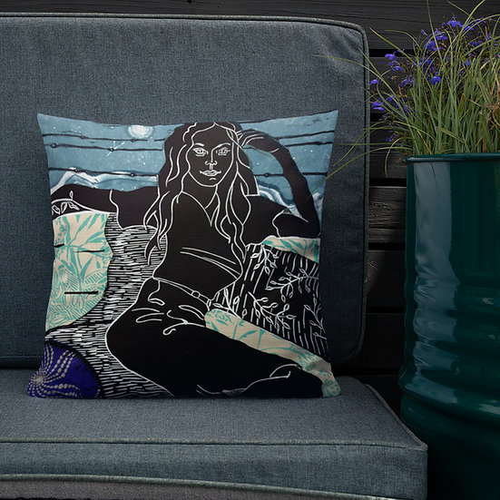 Premium Pillow of Reclining Woman by Ouida Touchon