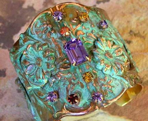 Olive Patina Solid Brass Zinnias Floral Wide Cuff - Swarovski Crystals