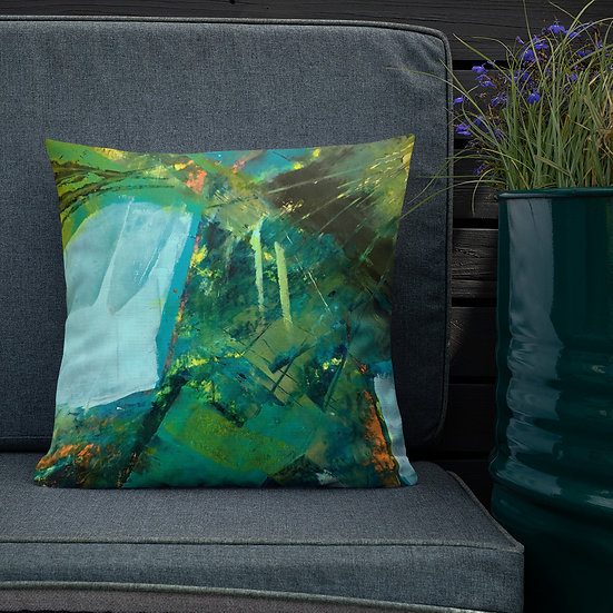 Premium Pillow, Abstarct in Blue, by Jen Prill
