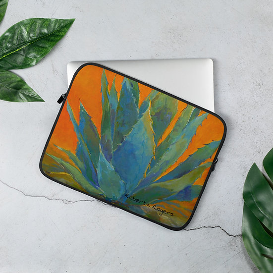 Laptop Sleeve Blue Agave by Roberta Rogers