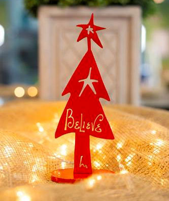 Red Believe Tree Tabletop Decoration