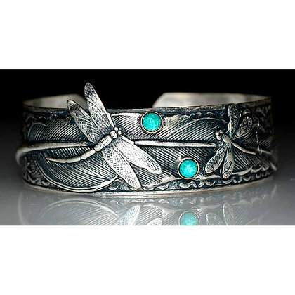 Antiqued Silver Solid Brass Dragonflies on Feather Cuff - Turquoise