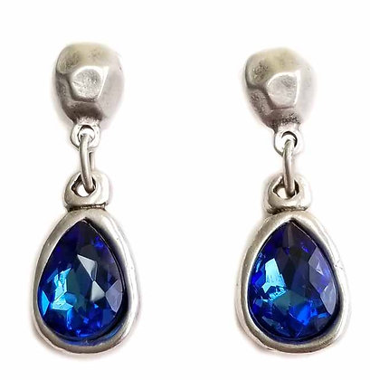 Pewter Blue Quarts Drop Earrings