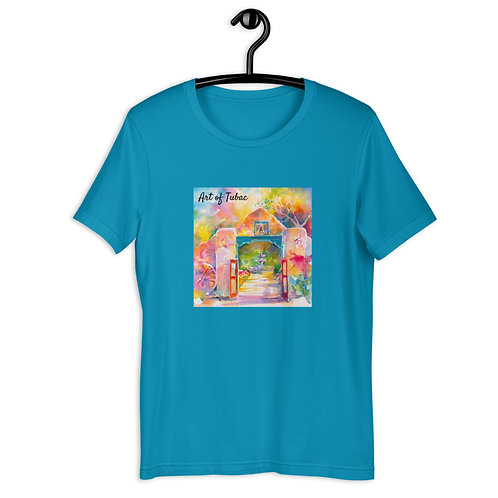 Short-Sleeve Unisex T-Shirt, Mexican Gate, by Roberta Rogers