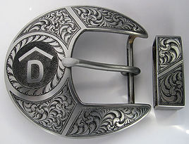 steel engraved western belt buckle
