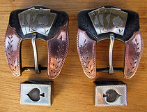 aces, card suits, western buckles, handmade headstall buckles, handmade  western spur strap buckles
