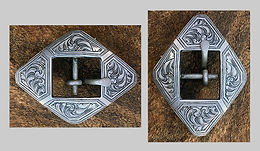 cart buckle, western buckles, western bright cut engraving