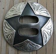 slotted concho, handmade conchos, Texas star, custom tack, custom conchos