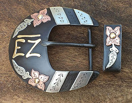 Klapper, dogwood flower, custom belt buckle, western artist, handmade western belt buckle, handmade buckle