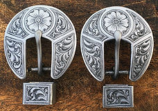 engraved steel buckles, western bright cut engraving, spur strap buckles handmade