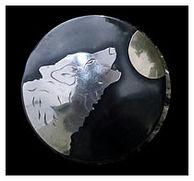 howling woof, wolf, moon, concho, handmade western tack, handmade conchos, western, western art