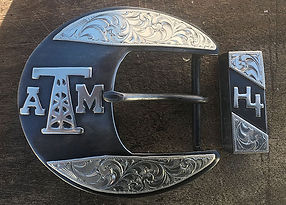 oil derrick, Texas A&M, Handmade western belt buckle