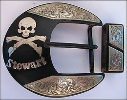 Skull, skull and crossbones, western belt buckle, handmade belt buckle