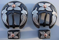 dogwood flower, Klapper style buckle, headstall buckles handmade