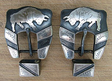 charging bull, spur strap buckles, handame spur strap buckles, western art, saddle hardware handmade, custom made buckles, spur straps, headstall buckles, handmade, customized, custom