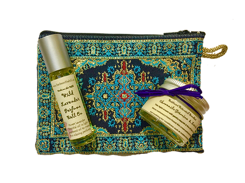 Chamomile Geranium & Lavender Cream and Wild Lavender RollOn Purse Set