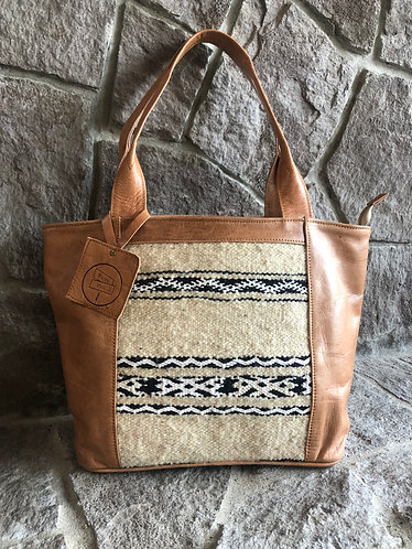 Leather and Salvaged Rug Tote