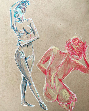 chalk/pastel on tan tone.