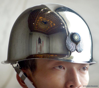 Mirror helmet at the Tchang Kai shek memorial, Taiwan.