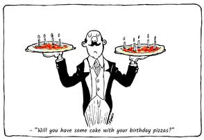 Happy birthday with pizza cake