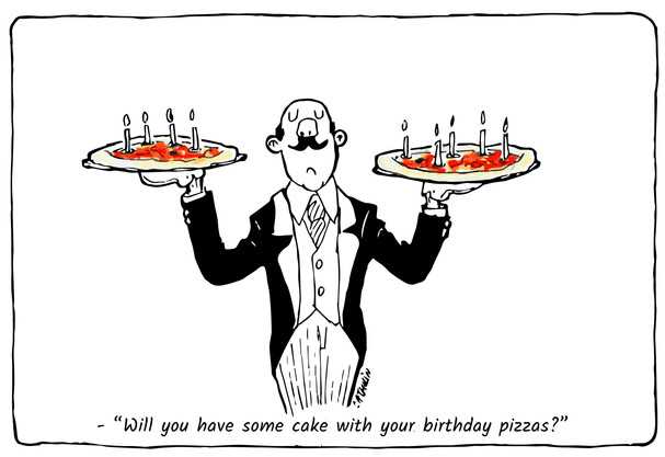 Happy birthday with pizza cake