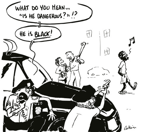 White Cops Fear Of Black People by Cathrin