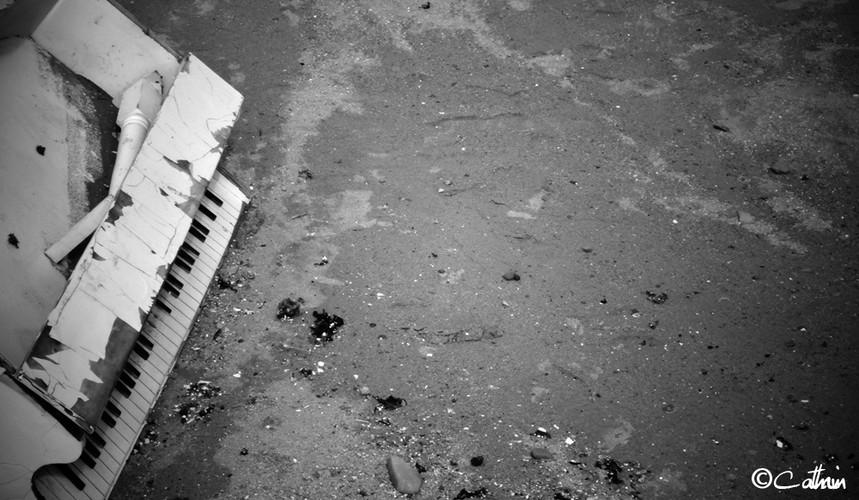 Piano on a beach