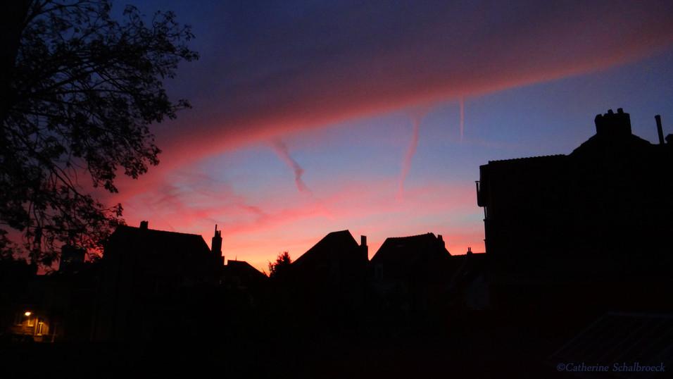 Sunset in Brussels, Belgium.
