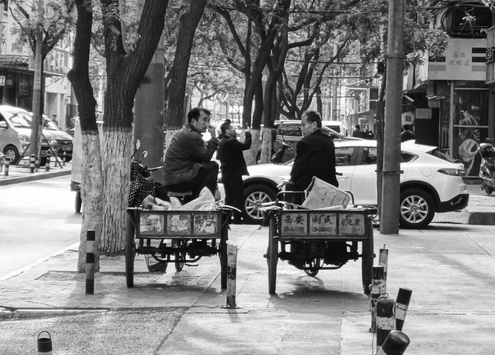 Two men taking a break, Xi'An 2017.
