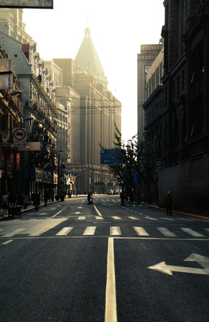 Nanjing Road in the early hours of the day, Shanghai, China.