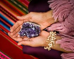 Sara holding an Amethyst Crystal