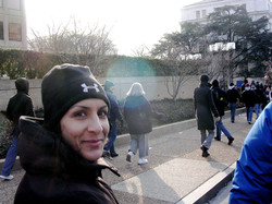 Sara on her way to Obama's 2009 Inauguration