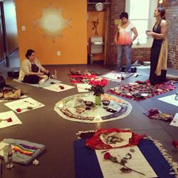 Sara teaching teh Path of Power Medicine Wheel at her DC Center