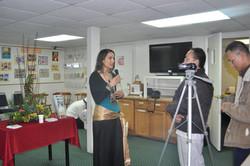 Sara being interviewed at Meditation Center