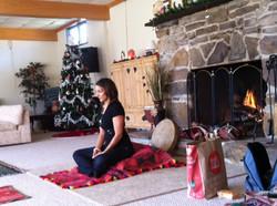 Sara preparing to teach at the Land Celebration Retreat Center