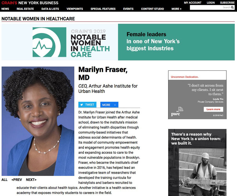 Crain's honors Marilyn Fraser, MD, named to 2019 Notable Women in Health Care