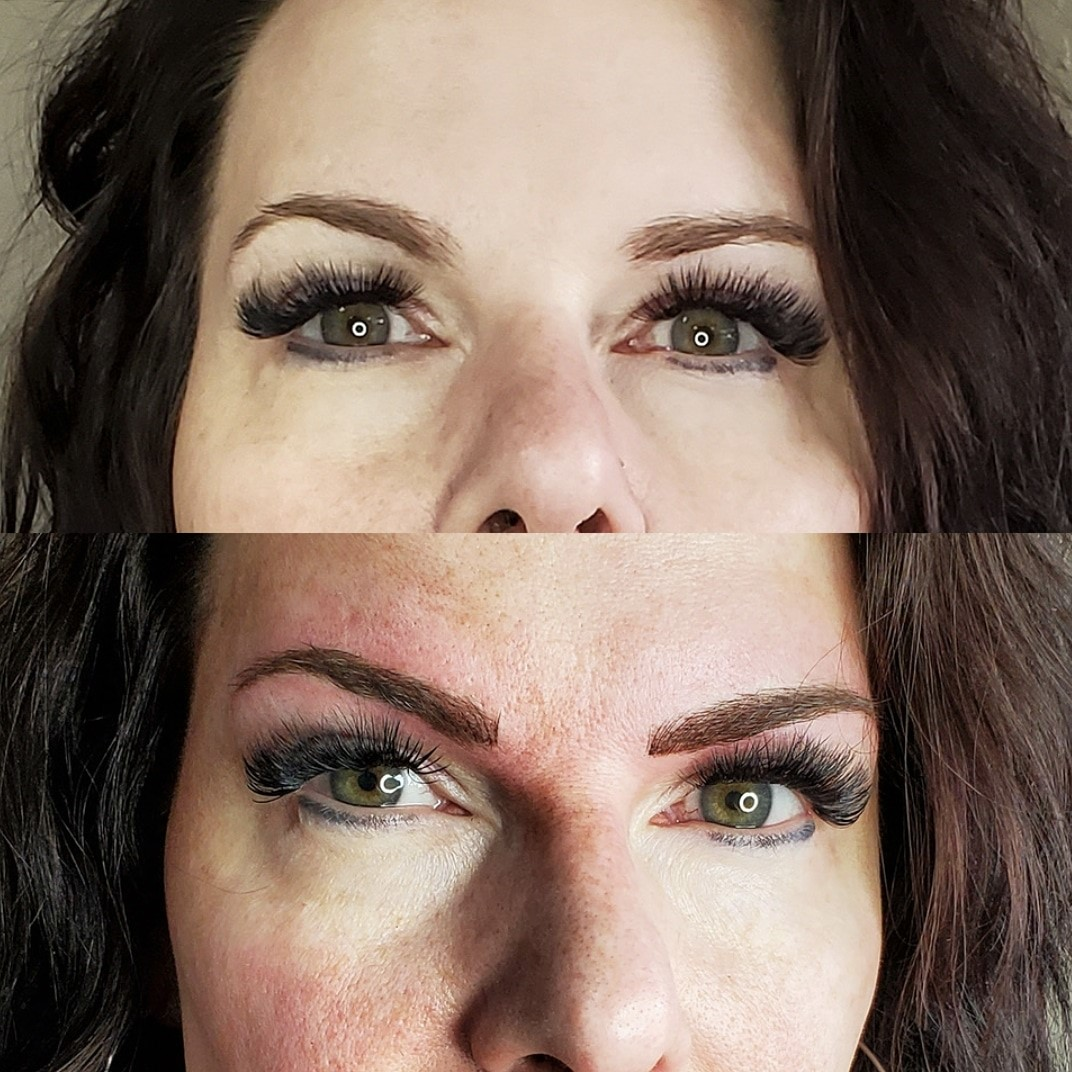 before & after brows & eyeliner