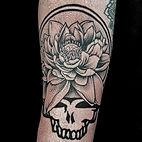 grateful dead skull with flower