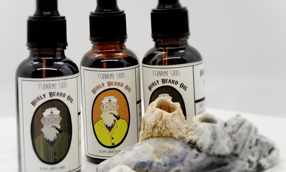 Burly Beard Grooming Oil (Rosemary & Spearmint) with dropper
