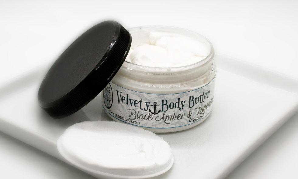 Velvety body butter black amber & lavender 4 oz. Jar