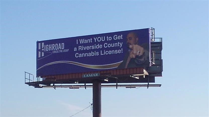 Highroad Riverside cannabis license billboard