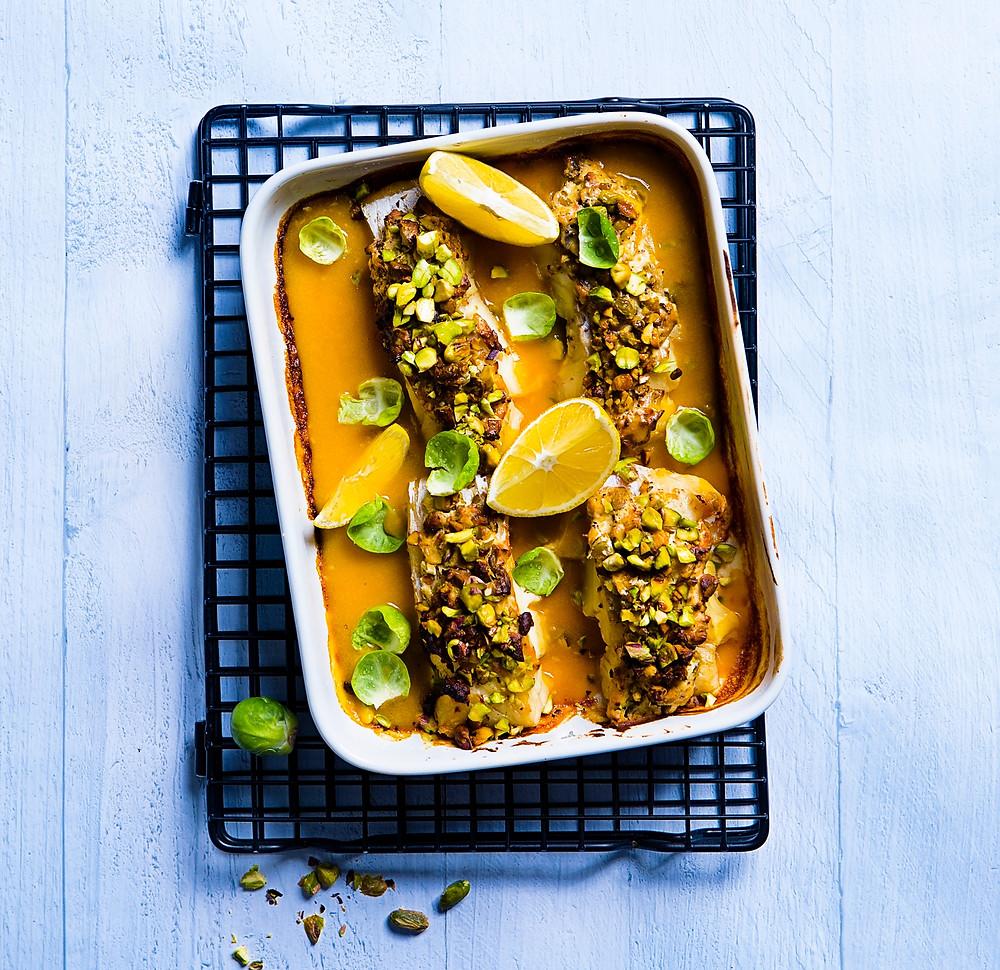 žuvis su pistacijų plutele ir moliūgų padažu, receptai, Alfo receptai