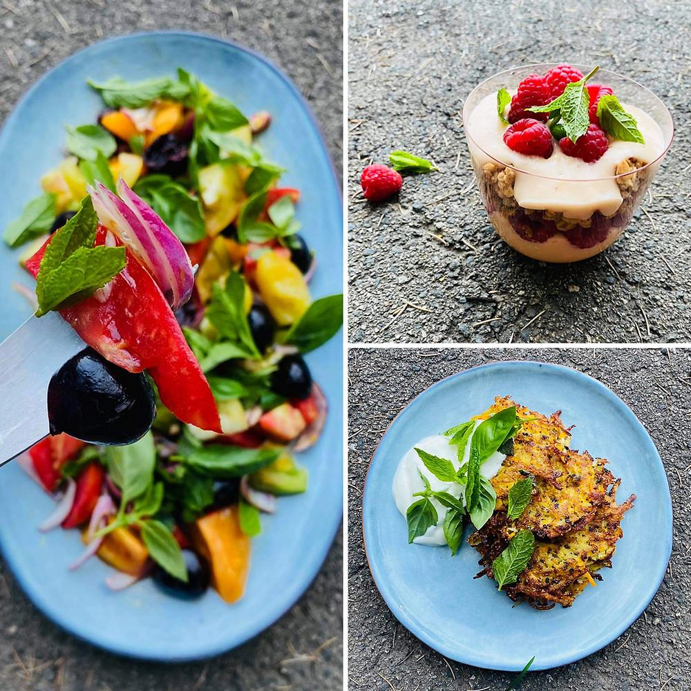 Alfo receptai, salotos su trešnėmis ir pomidorais, aviečių desertas, bulviniai blynai